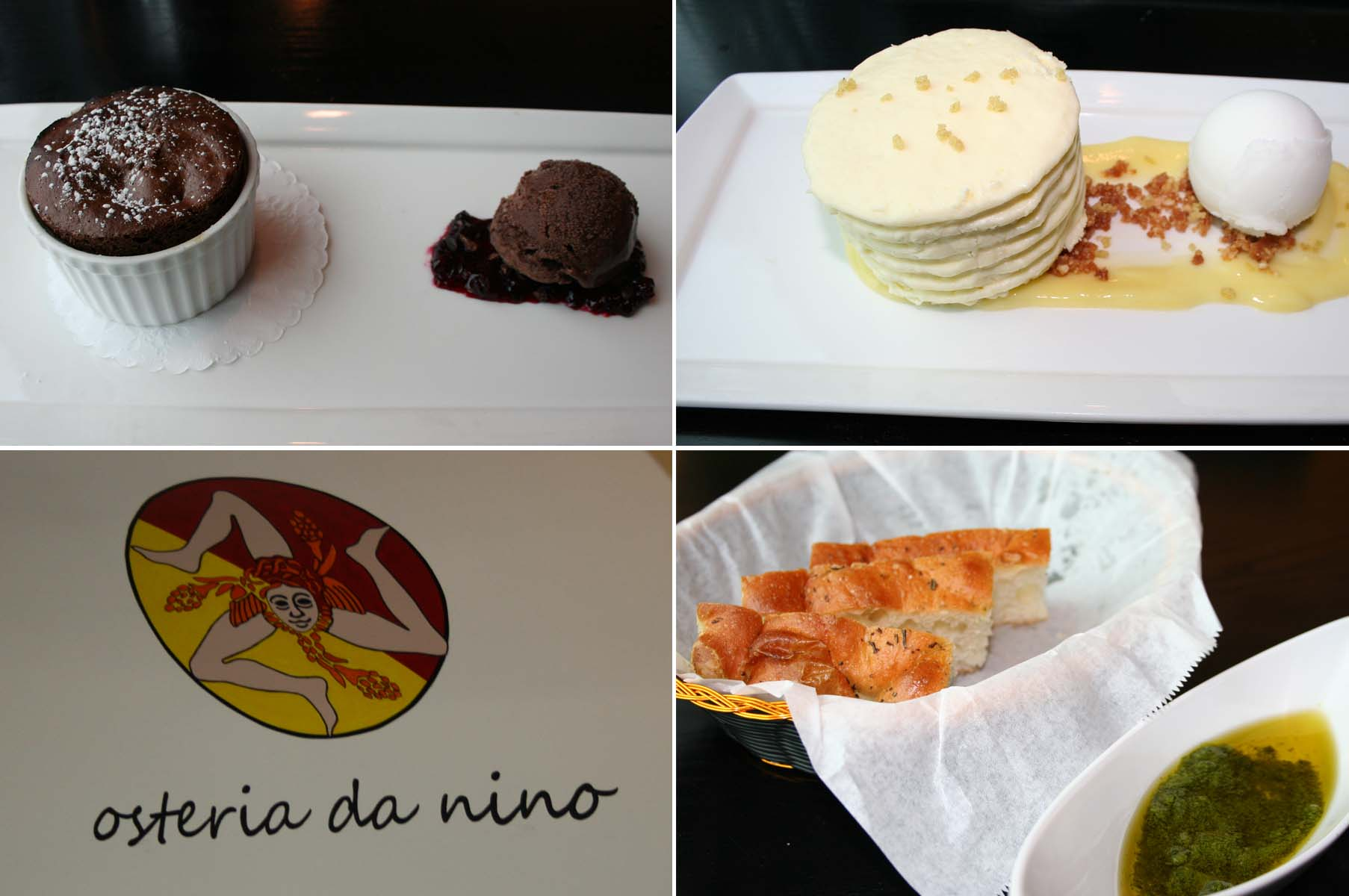 Desserts include chocolate soufflé (clockwise from the top left), an olive oil cake with mascarpone lemon curd. Each meal begins with focaccia and pesto in olive oil. (Photos: Mark Heckathorn/DC on Heels)