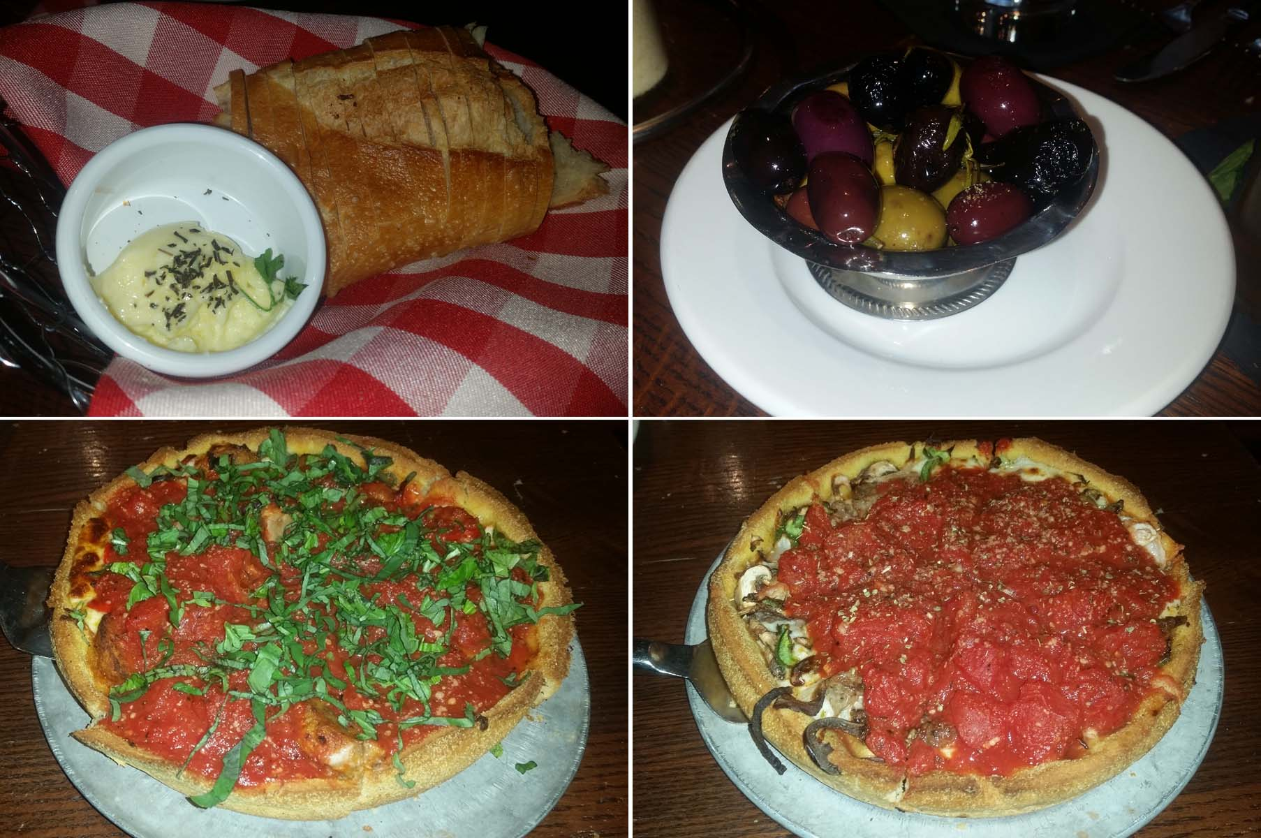 Dishes at Pi Pizzeria include garlic bread (clockwise from top left), olives, the South Side Classico deep-dish pizza and the Kirkwood deep-dish pizza. (Photos: Mark Heckathorn/DC on Heels)