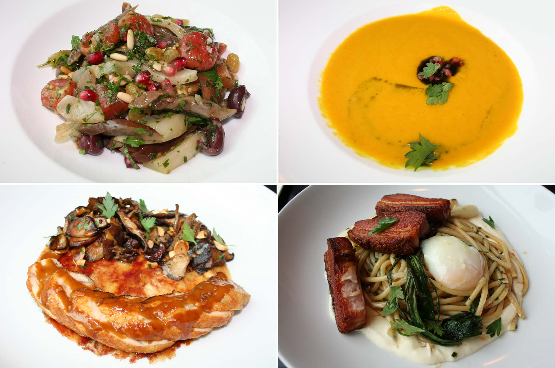 Dishes include braised eggplant salad (clockwise from top left), zuppa di pomodoro giallo, a chilled yellow tomato soup, carbonara with crispy pork belly and chicken marsala. (Photos: Mark Heckathorn/DC on Heels)