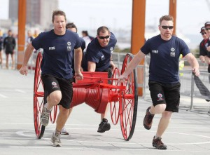 A team of firefighters competes in the 2013 World Police & Firefighter Games in Belfast. (Photo: World Poice & Fire Games)
