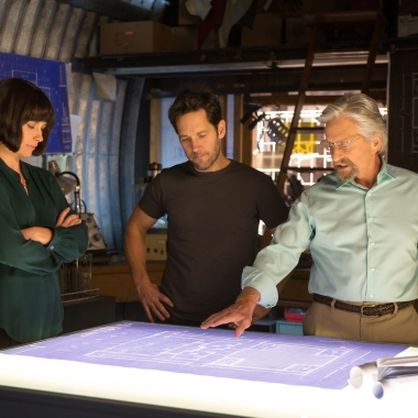 Evangeline Lilly (l to r), Paul Rudd and Michael Douglas star in