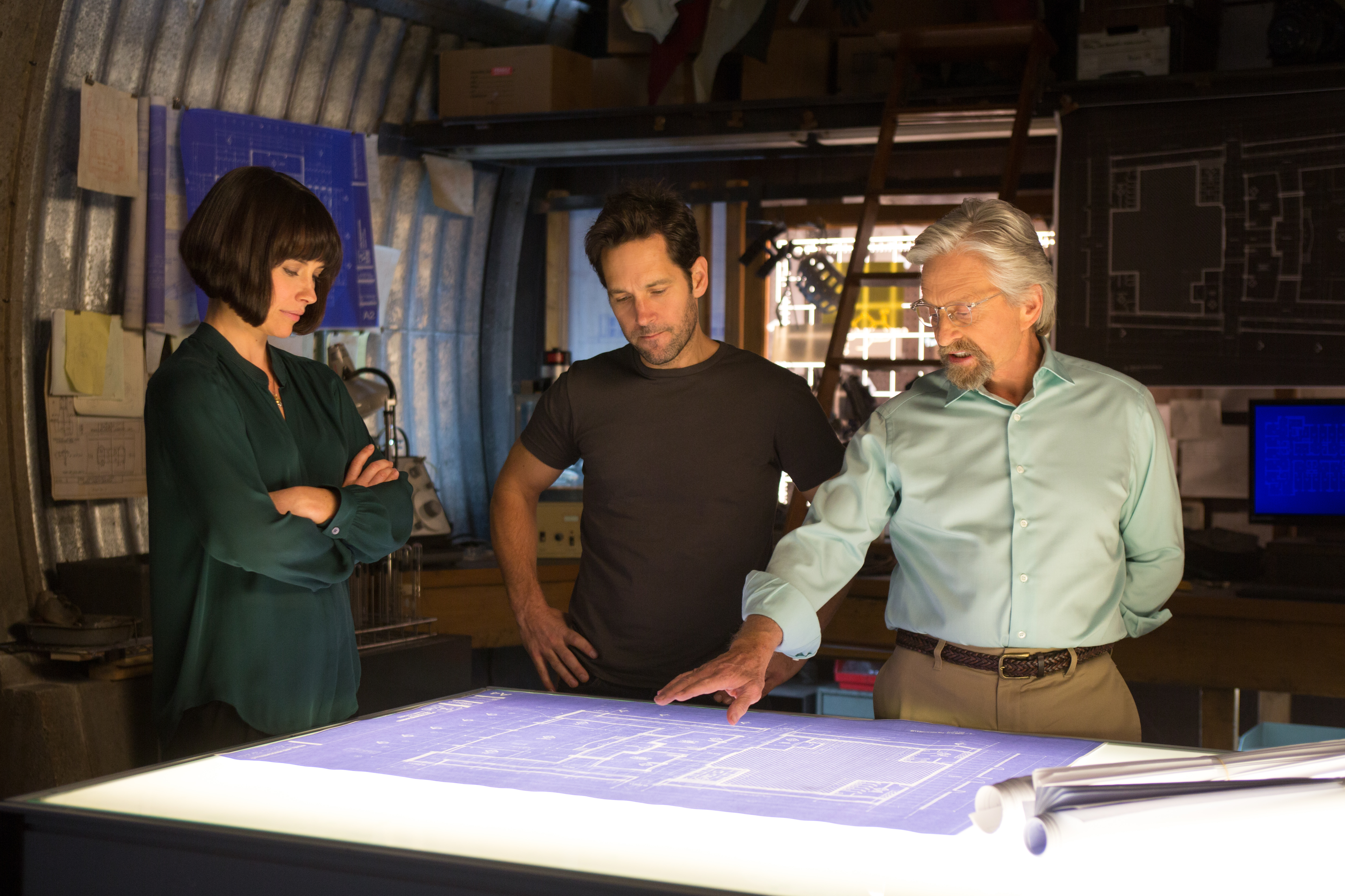 "Evangeline Lilly (l to r), Paul Rudd and Michael Douglas star in <em>""Ant-Man."" (Photo: Zade Rosenthal)"