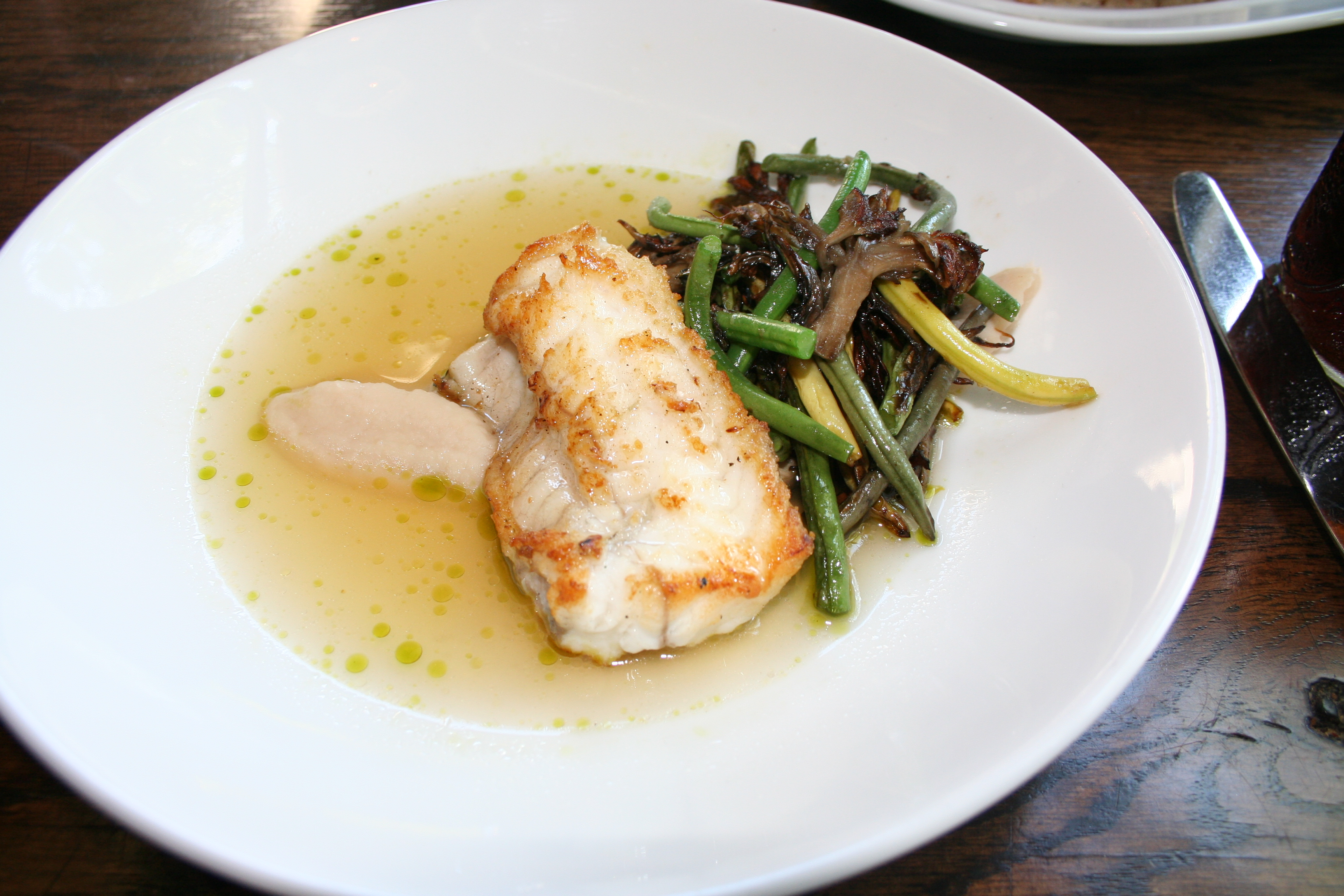 The market fish of the day was monk fish served with beans and mushrooms. (Photo: Mark Heckathorn/DC on Heels)