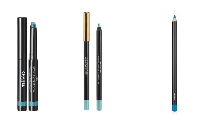 Chanel Stylo Fresh Effect in Azulejo (l to r), YSL Dessin Regard #12, MAC Chromagraphic Pencil in High Def Cyan.