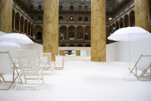 "Beach chairs and umbrellas set up on the ""beach"" at the National Building Museum. (Photo: Deane Madsen)"