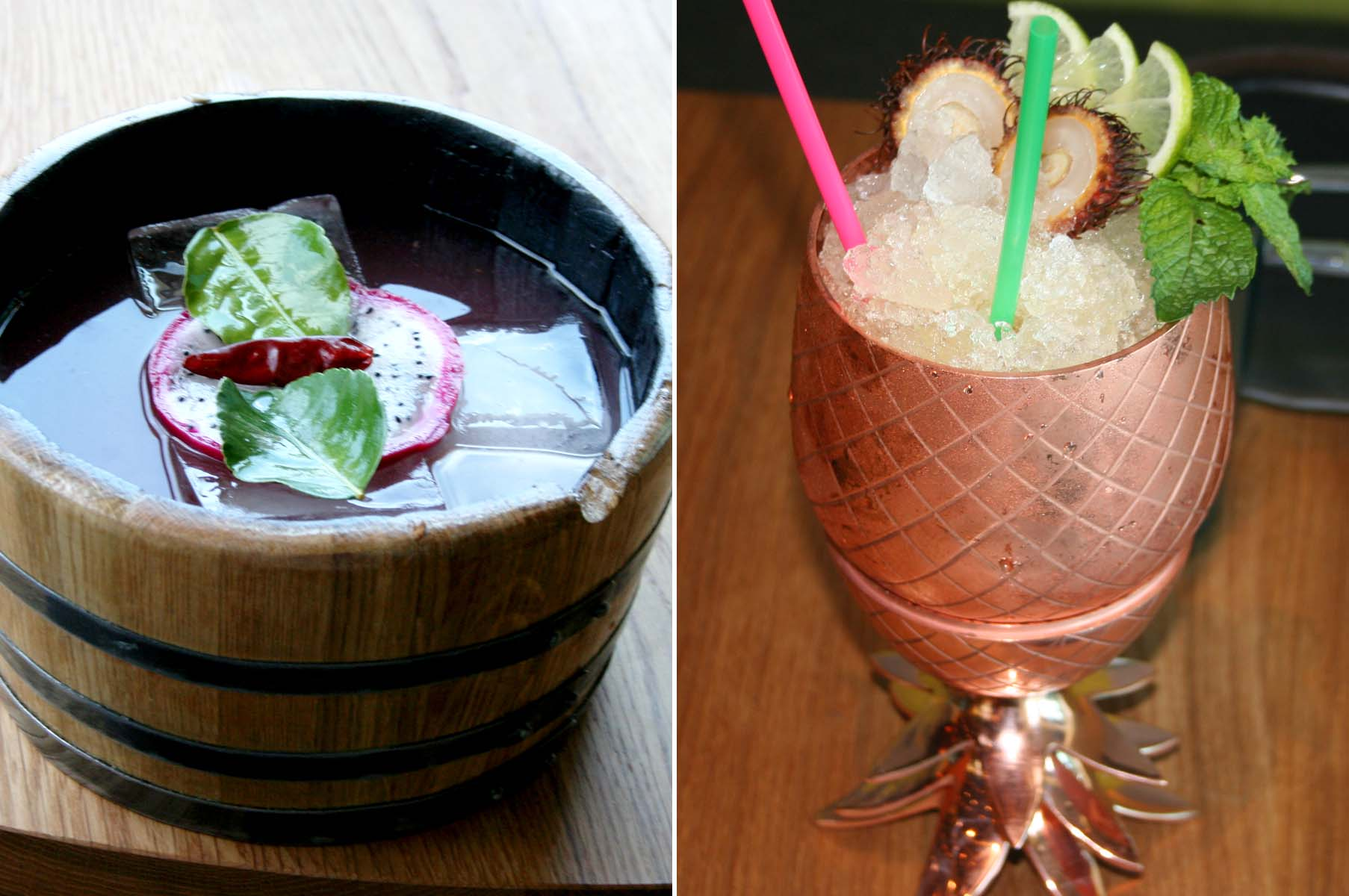 Drinks at the cocktail-centric Pepita include the Kentucky Hero (left) made with bourbon, black tea, peach orgeat and lemon; and the Lady Marmalade with cachaça, brandy, kumquart marmalade, ginger and tiki bitters. (Photos: Mark Heckathorn/DC on Heels)