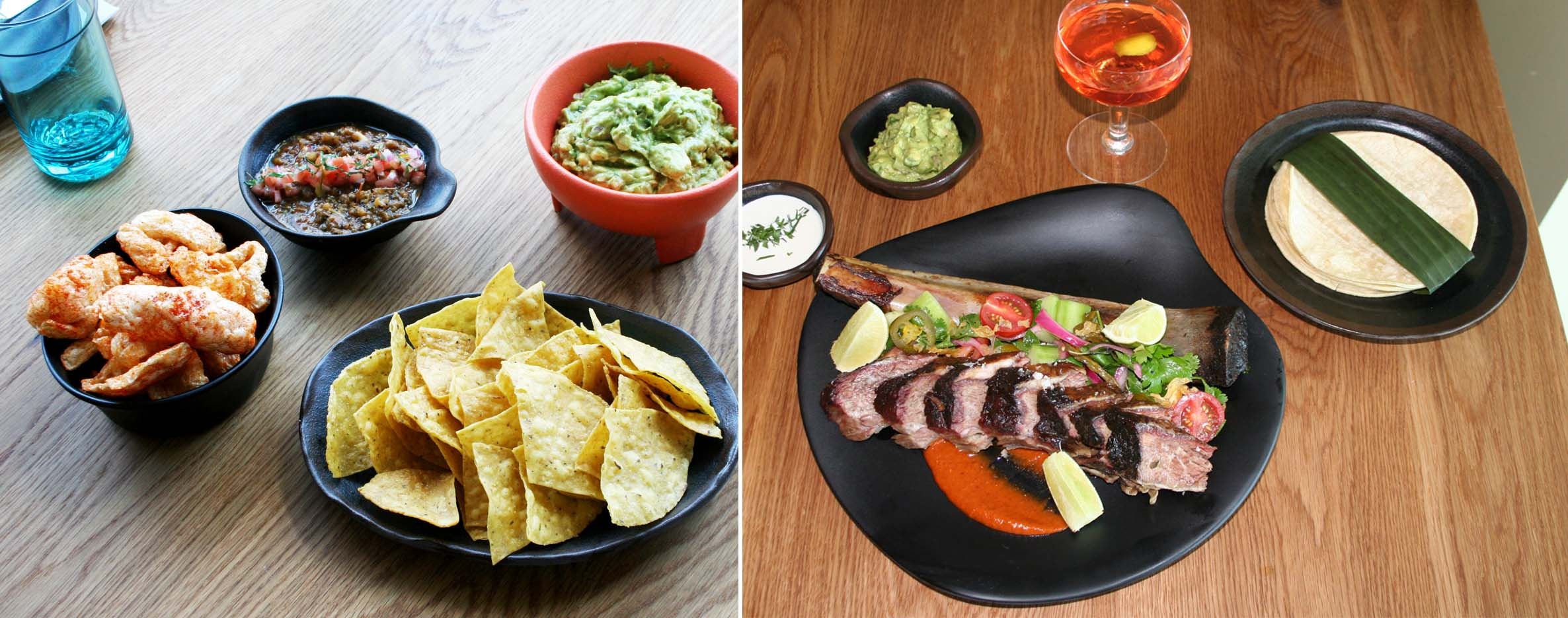 Pepita's menu features Mexican street food such as chips and chicharron with salsa roja and guacamole (left), and smoked short ribs served with corn tortillas, salsas and guacamole. (Photos: Mark Heckathorn/DC on Heels)