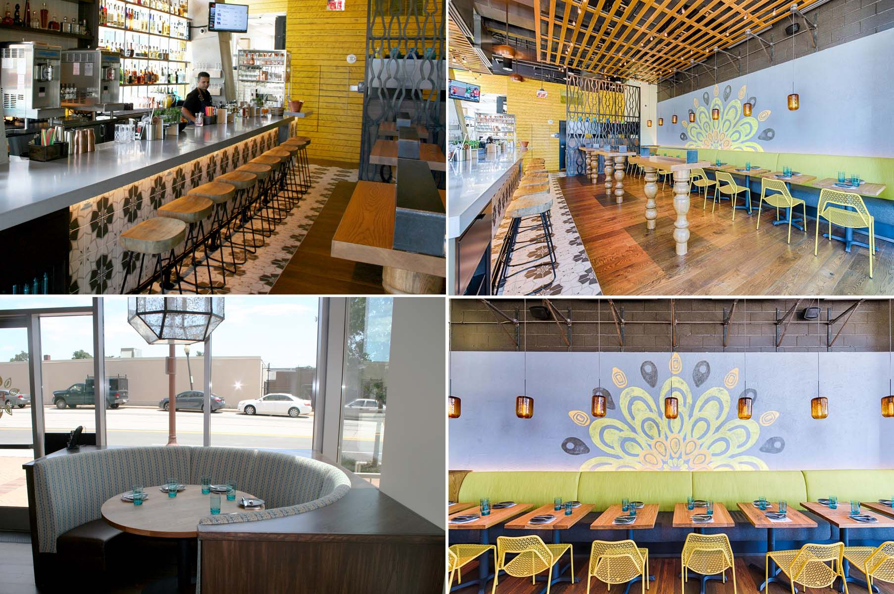 Pepita is a tiny 1,300 square feet with a concrete bar (clockwise from top left), high tops, tables and a family-sized banquette. (Photos: Mark Heckathorn/DC on Heels)