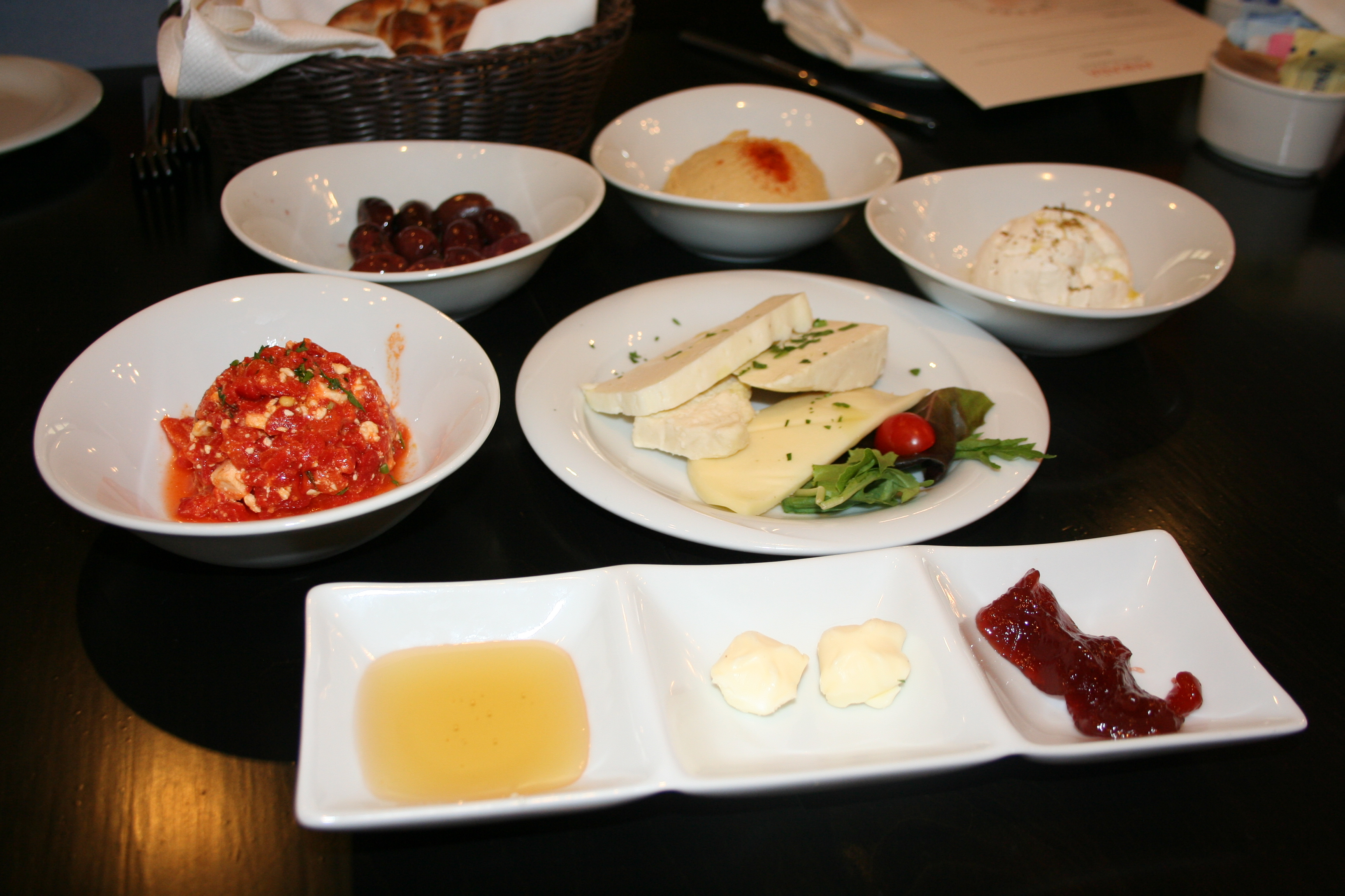 Brunch at Ankara starts with van kahvaltisi, a selection of sweet and savory small plates and Turkish bread. (Photo: Mark Heckathorn/DC on Heels)