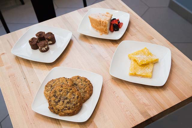 Rare Sweets in CenterCityDC is serving First Lady-inspired sweets including Eleanor Roosevelt's angel food cake (clockwise from top), Lady Bird Johnson's lemon bars, Hillary Cinton's oatmeal chocolate chip cookies and  Mamie Eisenhower's chocolate fudge. (Photo: Franz Mahr/Brightest Young Things)