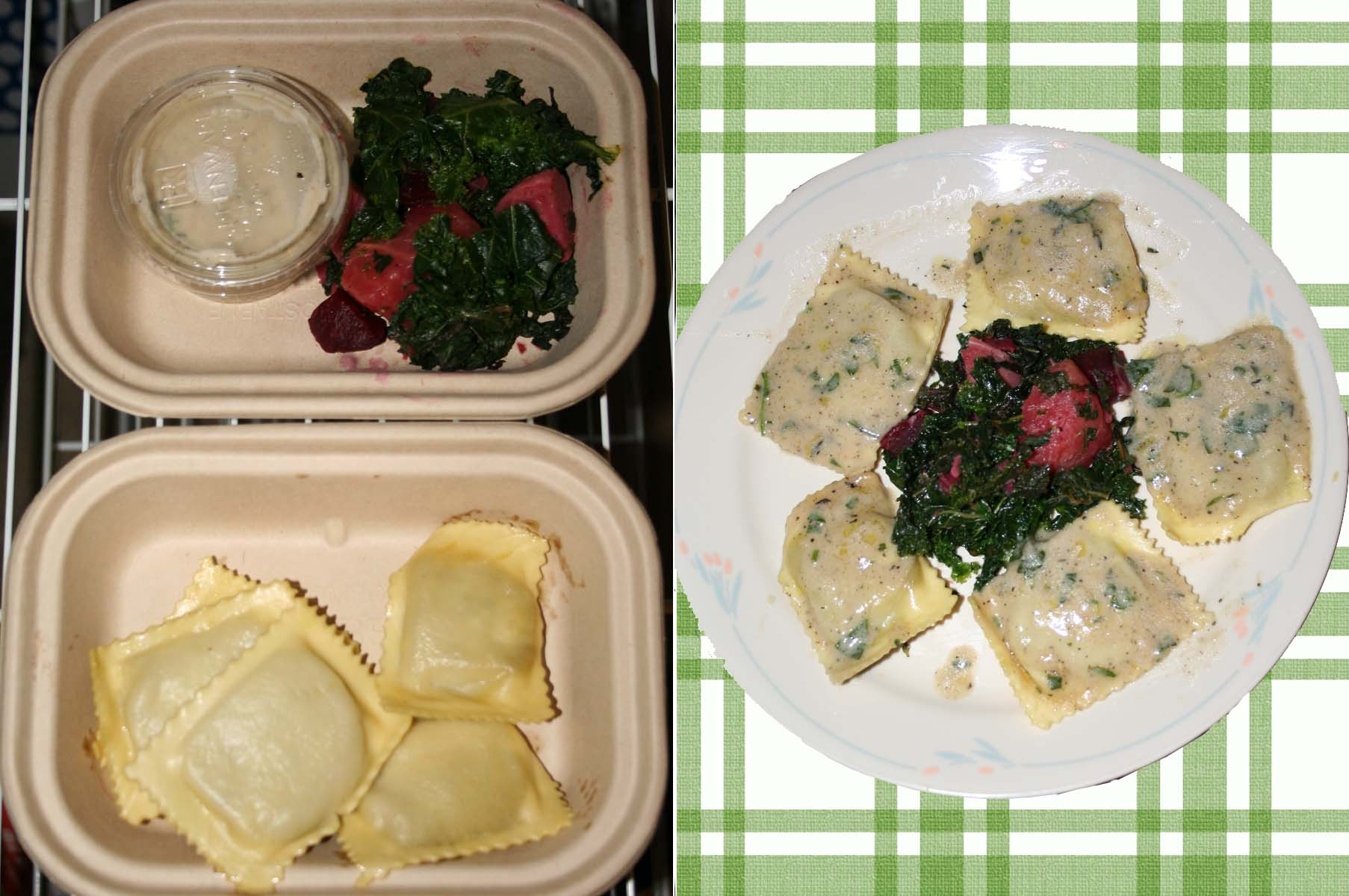 Galley's  caramelized onion and pancetta ravioli in a creamy herb sauce with a roasted beet and kale salad. (Photos: Mark Heckathorn/DC on Heels)
