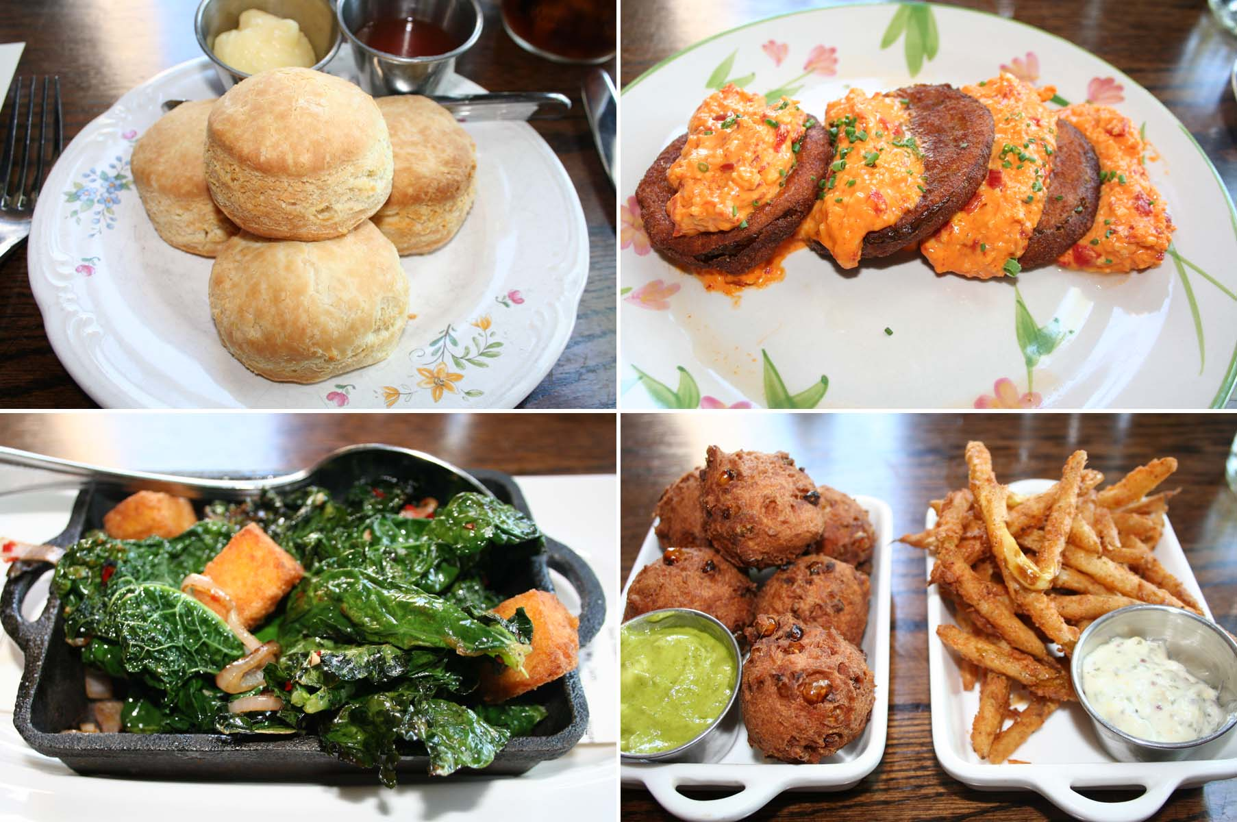 Macon Bistro's lunch starters included Essie's biscuits (clockwise from top left), fried green tomatoes with pimento cheese, corn fritters and fried pickles, and a side of crispy kale. (Photos: Mark Heckathorn/DC on Heels)