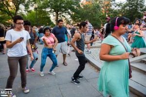 People dance at June's Silent Disco Party at Dupont Circle. (Photo: The Mues)