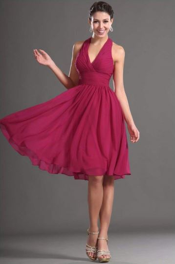 If you are going to a beach wedding, look for a short, breezy gown in Marsala, the color of the year. (Photo: JVsDress)