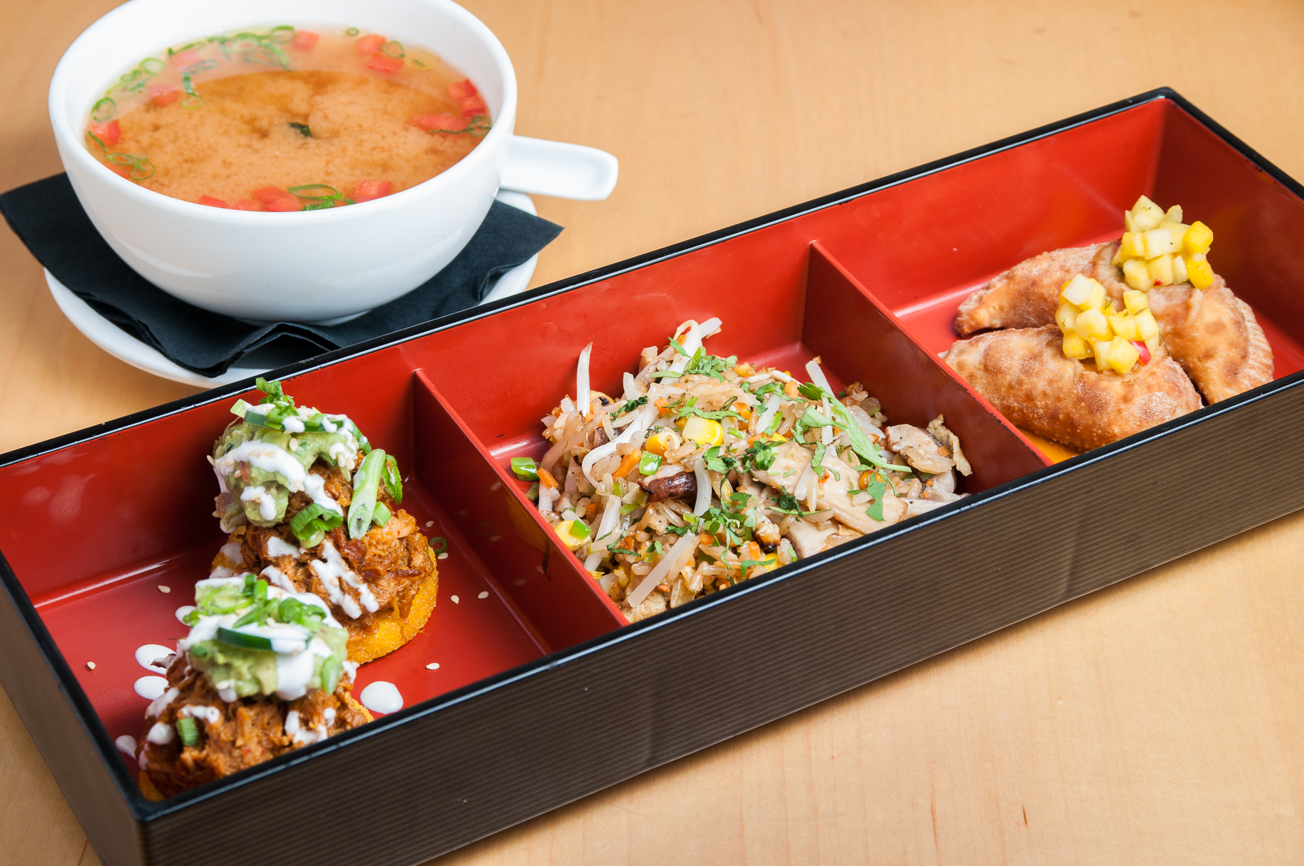 Buy four of Zengo's bento boxes this month and get the fifth free, including the dim sum bento box. (Photo: Zengo)