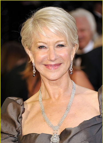 Stunning recent septuagenarian Dame Helen Mirren displays her well-cared for neck and decolletage .(Photo: Cerise & Co.)