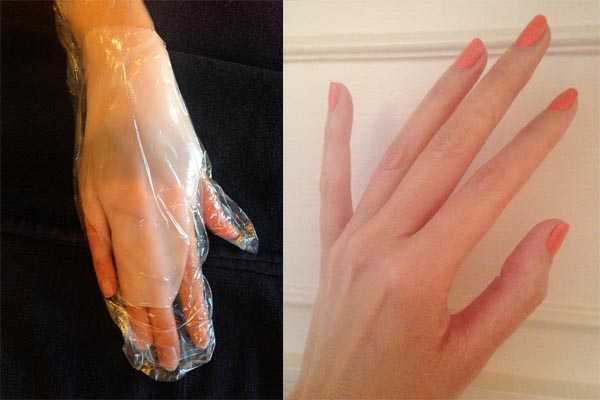 My hand, with the collagen crystal masque during (lef) and after (right) treatment (Photo: Lia Phipps/DC on Heels)