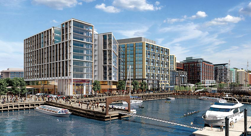 Isabella and Carroll will open their French Mediterranean seafood restaurant at the new Wharf mixed-use development. (Rendering: Perkins Eastman)