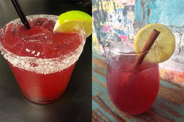 """""""Funday"""" cocktail specials at Tico include the hibiscus margarita (left) and the rose sangria. (Photos: Tico)"""