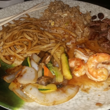 The finished meal with shrimp, N.Y. strip steak, sauteed vegetables, fried noodles and fried rice. (Photo: Mark Heckathorn/DC on Heels)