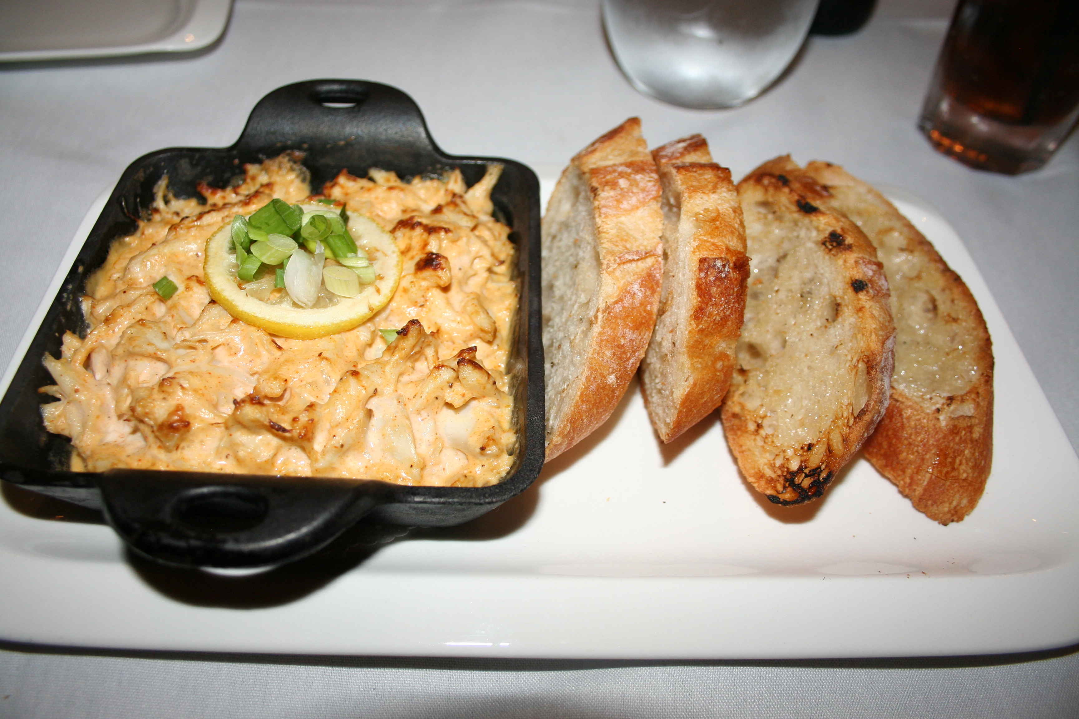 The spicy crab dip was tied for the best dish of the meal with the shrimp and grits. (Photo: Mark Heckathorn/DC on Heels)
