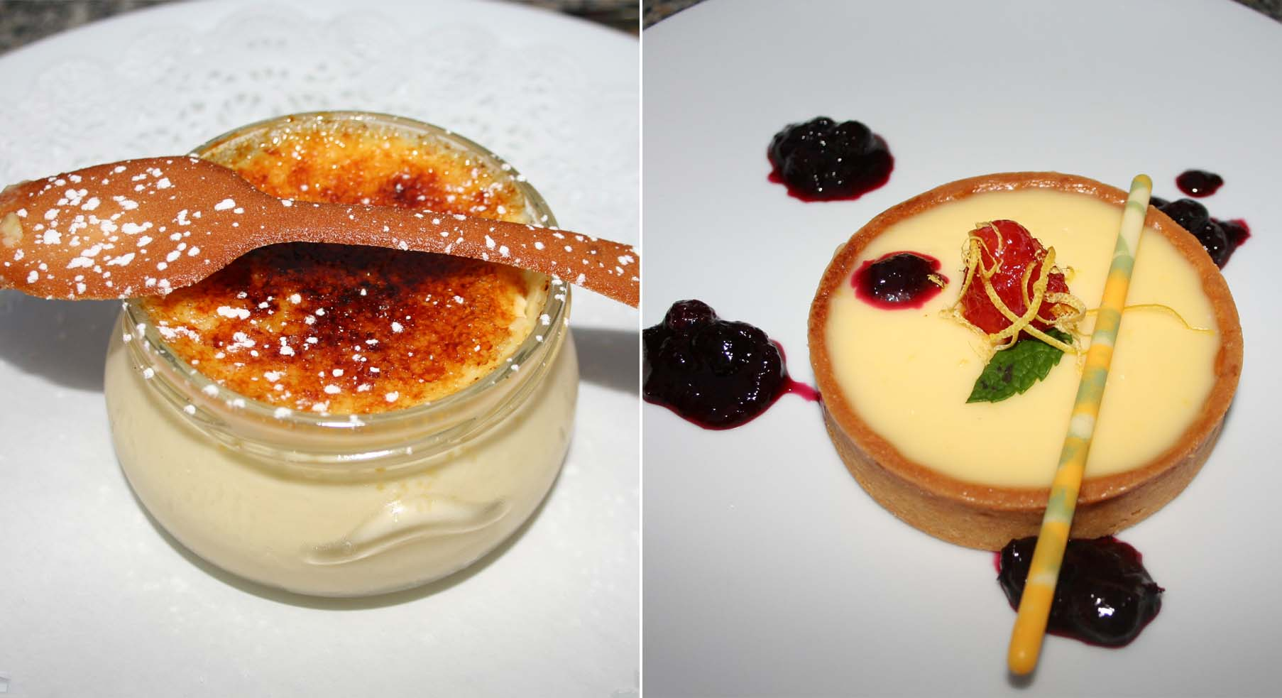 Both the creme brulee and lemon tart are good dessert choices. (Photos: Mark Heckathorn/DC on Heels)