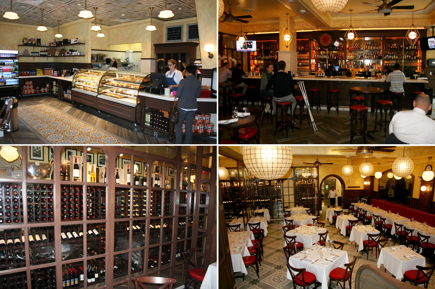 L'Hommage's bakery (clockwise from top left), bar, main dining room and wine room. (Photos: Mark Heckathorn/DC on Heels)