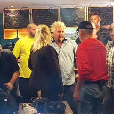 Guy Fieri films an episode of his Food Network show Diners, Drive-Ins and Dives at Bub and Pop's on M Street NW. (Photo: Scott)