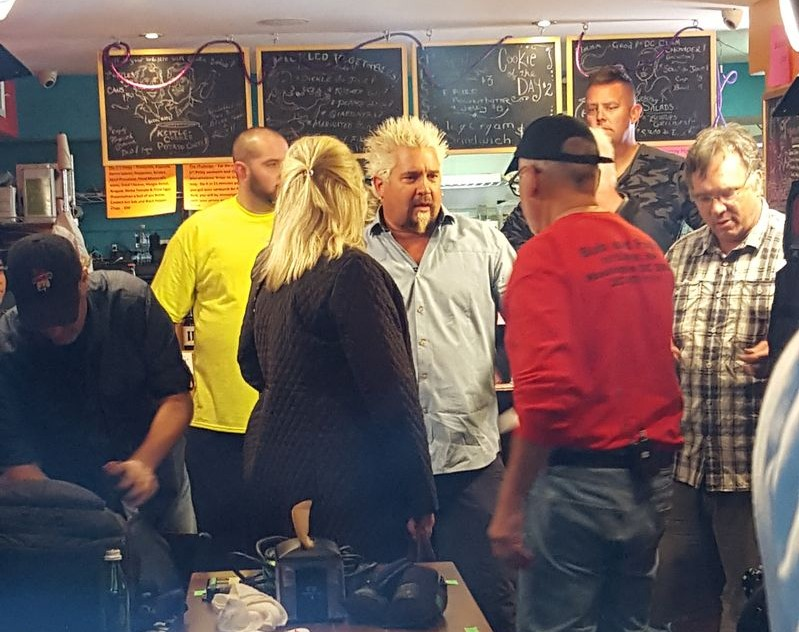 Guy Fieri films an episode of his Food Network show