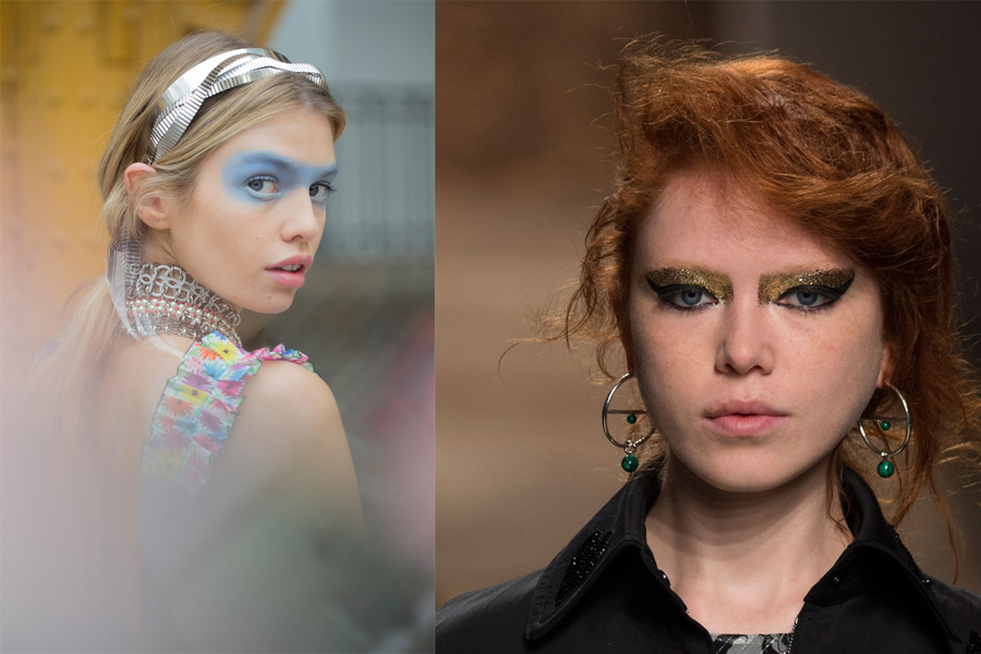 Bold looks from the spring 2016 catwalks include blue accents and gilded eyes . (Photos: Peter Tachman, left,  and Imaxtree, right)