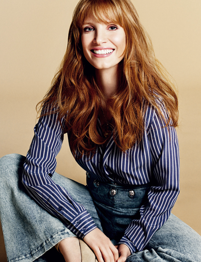 Jessica Chastain was on the February cover of Glamour UK sporting bangs. (Photo: Glamour UK)