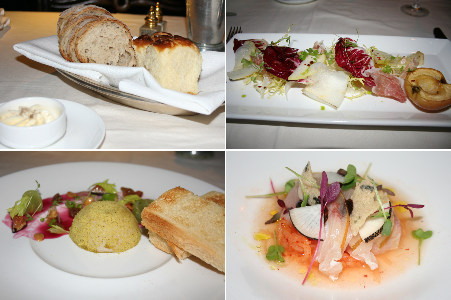 Our meal began with fresh baked bread (clockwise from top left), apple salad, hamachi crudo and foie gras torchon. (Photos: Mark Heckathorn/DC on Heels)