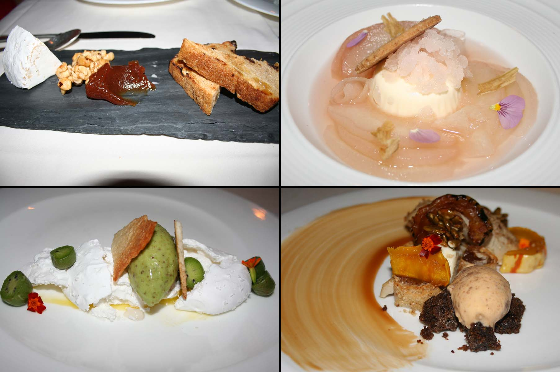 The cheese course included a soft Kunik (top left), while desserts included rose poached pear (clockwise from top right), pumpkin walnut strudel and kiwi-berry pavlova. (Photos: Mark Heckathorn/DC on Heels),