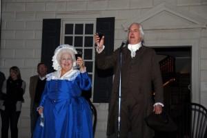 """George"" and ""Martha Washington"" share a toast at Mount Vernon's wine festival. (Photo: Mount Vernon)"