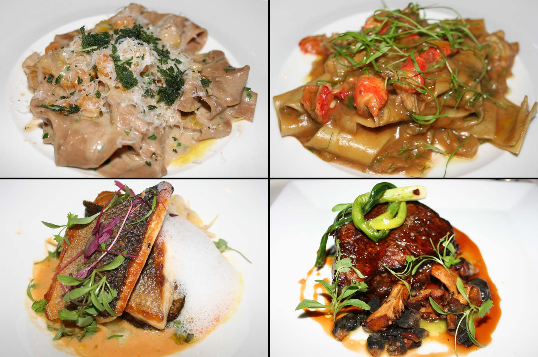 The second course included chestnut tagliatelle (clockwise from top left) and lobster pappardelle, while entrees included beef tenderloin and a Thai branzino. (Photos: Mark Heckathorn/DC on Heels)