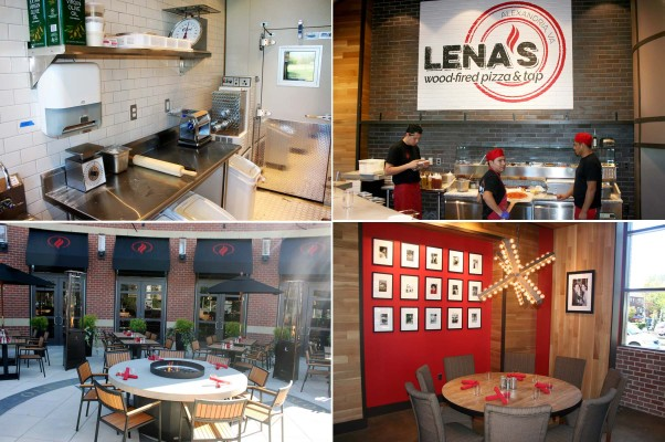 The pasta room (clockwise starting at top left), pizza line, dining room and outdoor patio at Lena's Wood-Fired Pizza & Pub. (Photos: Mark Heckathorn/DC on Heels)