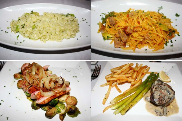 Third courses and entrees include asparagus risotto (clockwise from top left), fideua, bistro steak with asparagus and fries and the tuna steak with roasted Brussels sprouts. (Photos: Mark Heckathorn/DC on Heels)