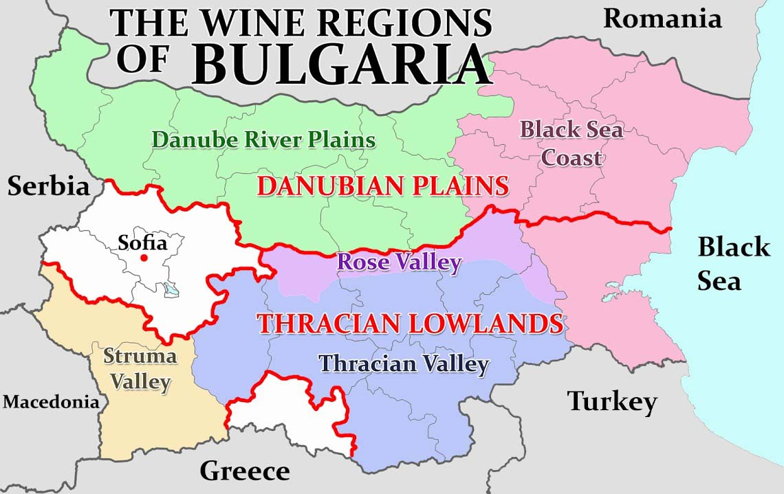 Bulgaria is divided into five wine producing regions. (Map: The Wine Stalker)