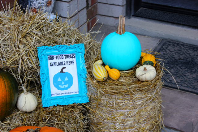 A teal pumpkin on your porch on Halloween means you have alternate treats for candy. (Photo: The Inspired Home)