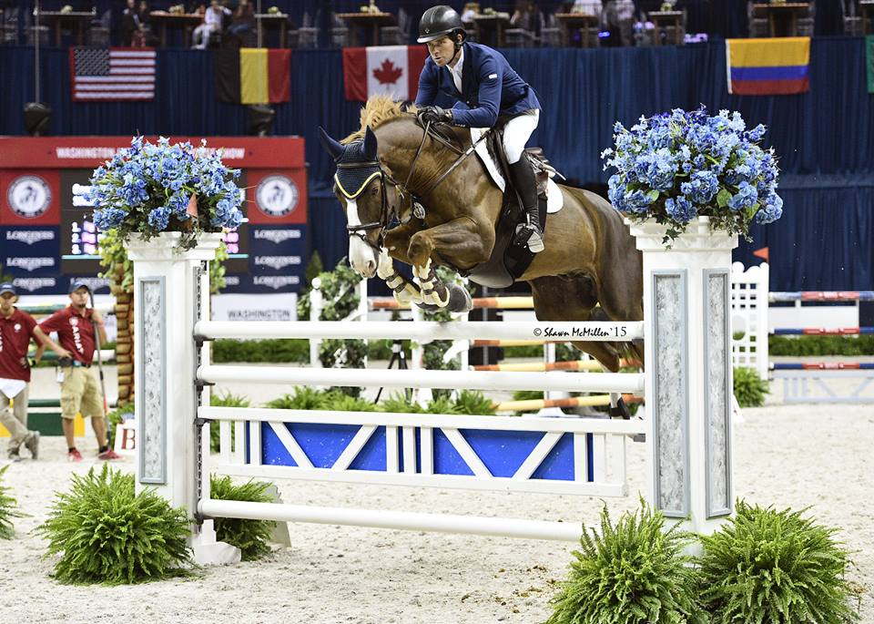 Conor Swail and Simba de la Roque win opening international jumper speed class at the 2015 Washington International Horse Show this week. (Photo: Shawn McMillen)