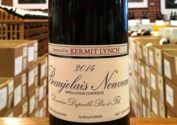 Cases of Domaine Dupeuble Beaujolais Nouveau 2014 waiting to be opened last year. Central will unveil the 2015 blend on Nov. 19. (Photo: Kermit Lynch)