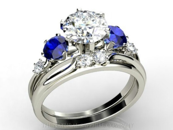 Genstones can be used as side stones, adding a touch of color. (Photo: The Natural Sapphire Co.)