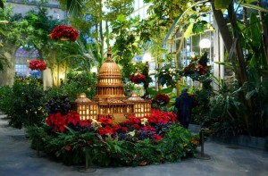 The U.S. Botanic Garden's annual holiday display is now open with trees, poinsettias, trains and iconic building made out of plants. (Photo: U.S. Botanic Garden)