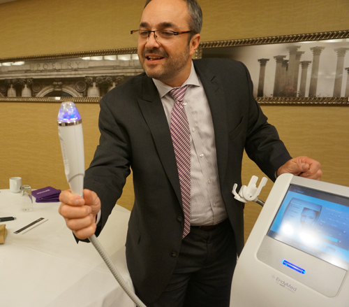 Ianelli demonstrates the Intensif Fractuonal Radio Frequency Microneedle Skin Remodeling. (Photo: Amina Mirza)