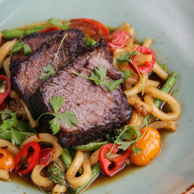 Zengo's Culinary Tour menu includes dishes from Hong Kong, Thailand and Tokyo including this short rib Udon noodle. (Photo: Zengo)
