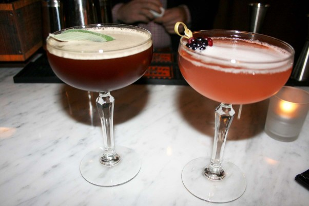 Cocktails include the Brooklyn Bound with rye, Grand Marnier, averna, luxardo, cherry-vanilla syrup and angostura, and the Southern Gentleman bubbly with Champagne, bourbon, blackberry liqueur and rhubarb shrub. (Photo: Mark Heckathorn/DC on Heels)