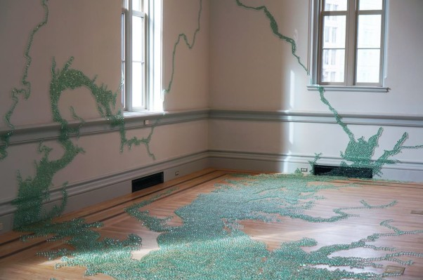 Maya Lin and her assistants used 2,000 pounds of fiberglass marbles to form a map of the Chesapeake Bay. (Photo: Ron Blunt/Renwick Gallery)