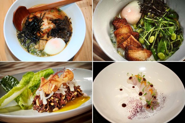 The menu at Yona includes the Miso Porky ramen (clockwise from top left), veggie ramen, fluke and yook whe, a veal heart tartare. (Photos: Mark Heckathorn/DC on Heels and Greg Powers)