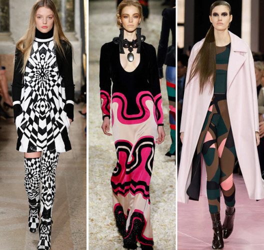 Keep trend pieces, like these graphic prints, to a minimum. (Photos: Style.com)