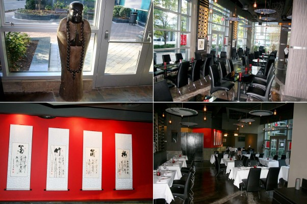 The restaurant is decorated with items chef/partner Robin Li brought from China. Guests are greeted by Chinese statues (clockwise from top left), the 40-seat lounge, dining room with white-table clothes and Asian wall hangings. (Photos: Mark Heckathorn/DC on Heels)